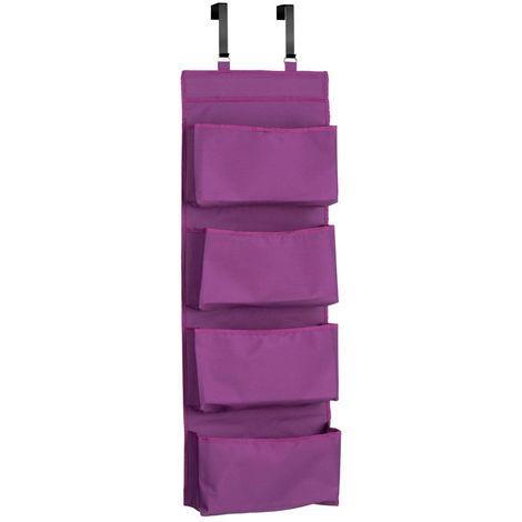 Over door hanging organiser,4 tier, purple polyester