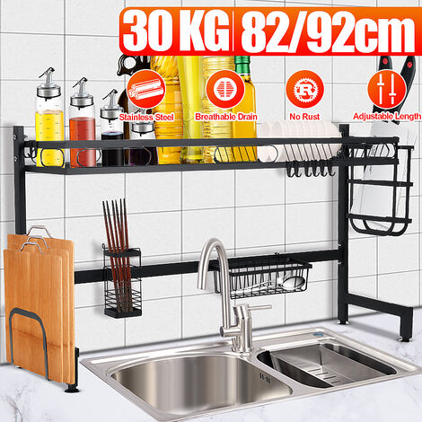 Over Sink Dish Drainer, Kitchen Utensil Drip Shelf, Storage Counter, Organizer, Utensil Rack, Space Saving Stainless Steel Bowl Rack