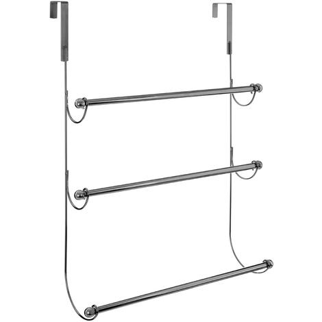 OVERDOOR - 3 Rung Metal Hanging Towel Rail - Chrome Silver