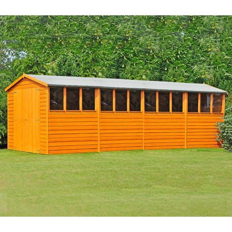 Overlap 10' x 20' Dip Treated Apex Shed Double Door with Windows