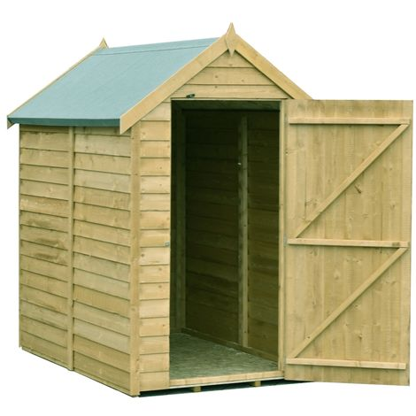 Overlap 6' x 4' Pressure Treated Value Range Shed Single Door