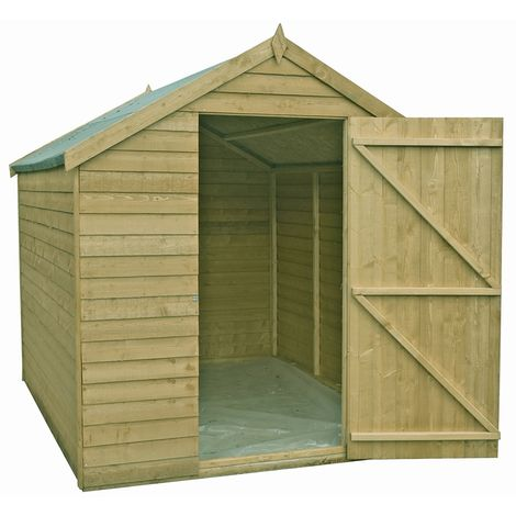 Overlap 8' x 6' Pressure Treated Value Range Shed Single Door