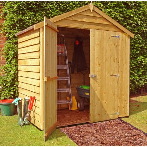 "main image of ""Overlap Double Door Garden Shed - Dip Treated Approx 4 x 6 Feet"""