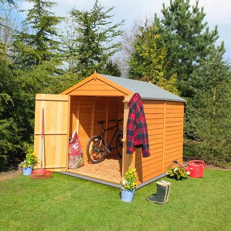 Overlap Double Door Garden Shed - Dip Treated Approx 8 x 6 Feet