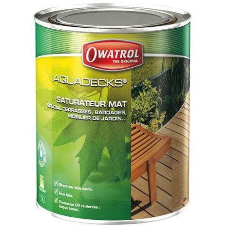 OWATROL - Saturateur bois Aquadecks - ébène - 1 L