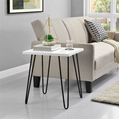 """main image of """"Owen White End Table With Black Hair Pin Legs"""""""