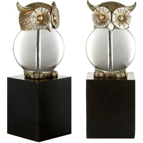 Owl bookends,polyresin / glass,antique silver / black