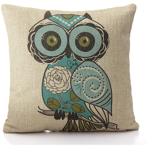 Owl Cushion Cover Home Light Sofa Pillowcase 4 Hasaki