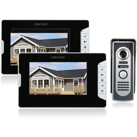 OWSOO, Kit de timbre de videoportero de 7 pulgadas, 2 Monitor de interior 1 Camara de exterior