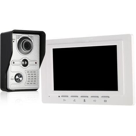 OWSOO Monitor de interior con timbre de video con cable de 7 pulgadas con IR-CUT Camara para exteriores a prueba de lluvia Intercomunicador visual Audio bidireccional Desbloqueo remoto de videoportero