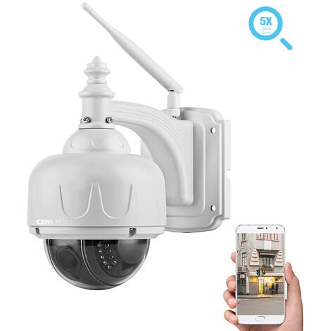 Owsoo Sans Fil 1080P Camera De Securite Wifi Camera Ip Pour La Maison Moniteur De Surveillance En Plein Air Avec Telephone Cellulaire App Two Way Audio Ptz Et Vision Nocturne Carte Slot Tf Mouvement Alarme 2.7-13Mm Zoom Optique