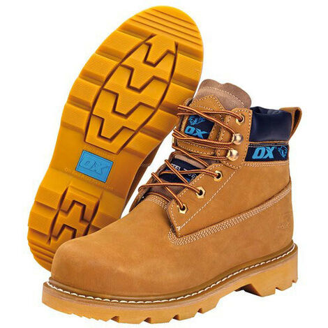 OX NUBUCK Safety Work Boots with Steel Toecap & Midsole Tan Honey (Sizes 6-13)