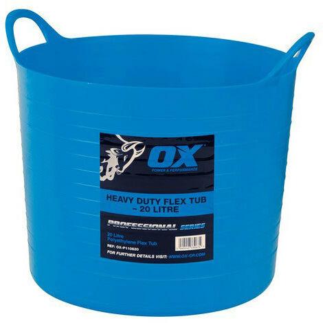 OX P110620 Pro Heavy Duty 20 Litre Flexi Tub Blue