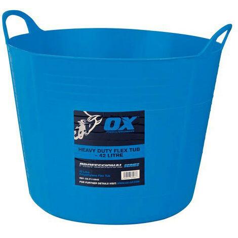 OX P110642 Pro Heavy Duty 42 Litre Flexi Tub Blue