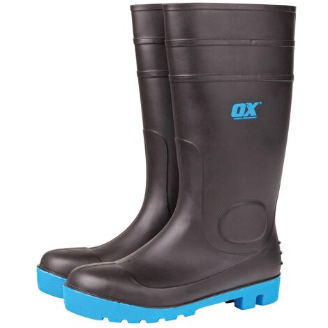 OX Safety Wellington Boots with Steel Toecap & Midsole Black (Sizes 5-13) Men's Wellies