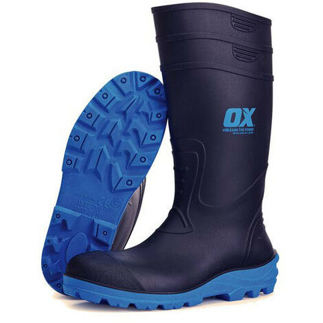 OX Safety Wellington Boots with Steel Toecap & Midsole Black (Sizes 5-13) Men's Wellies