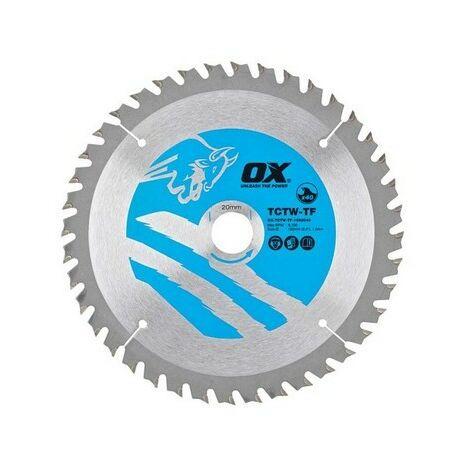 OX TCTW-TF-1652040 Wood Cutting Thin Circular Saw Blade 165/20mm 40 Teeth ATB