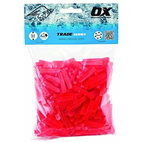 OX Tools OX-T160605 Distanziatori per Piastrelle a Forma di Cuneo, Rosso, 6mm (250 pcs)