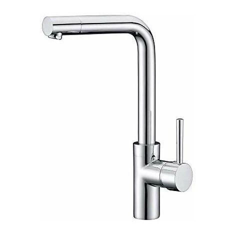 oxen® l164104monocomando per lavello zelanda. rubinetto miscelatore Alto E uscita orientabile 360o con acbado Cromo Lucido E cartuccia in Ceramica, CROMATO