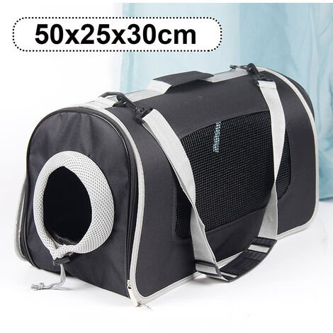 Oxford Cloth Breathable Dog Cat Pet Carrier Shoulder Bag Cat Puppy Carrier size L Black