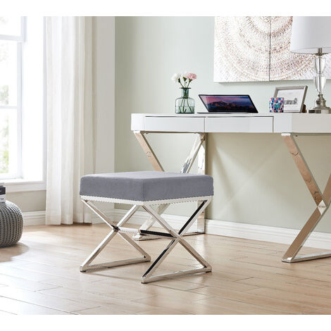 OXFORD GREY Velvet And SILVER Metal Bench
