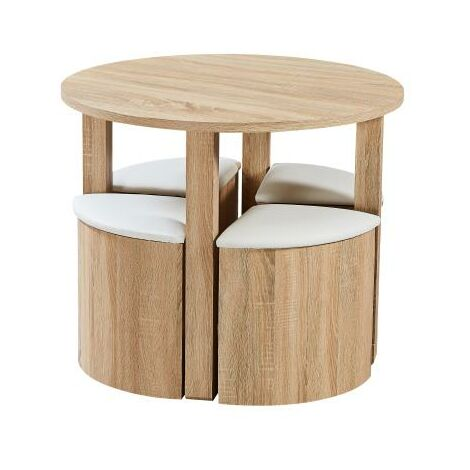"""main image of """"Oxford Space Saving Wooden Dining Table And 4 White Chairs Set"""""""