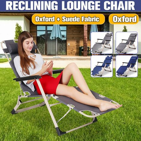 Oxford Steel Pipe Folding Recliner Lounge Chair Lounger Patio Outdoor Deck Beach