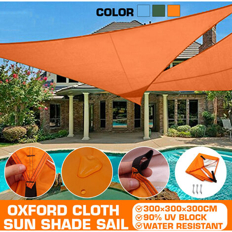 Oxford Waterproof Outdoor Fabric Tent Tarp Rain Sun Shade Shelter Camping Beach Picnic Sun Shade Sail (Orange, 300x300x300cm)