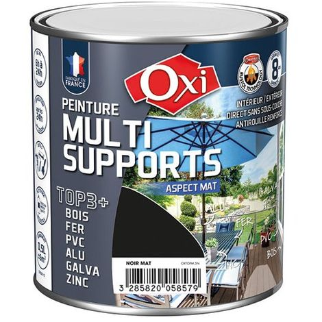 OXI - Peinture multi supports TOP3+ mat 0.5 L - noir
