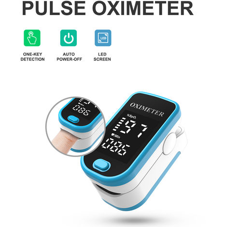 Oximetro, pantalla LED de oxigeno de la sangre del pulso del monitor, azul
