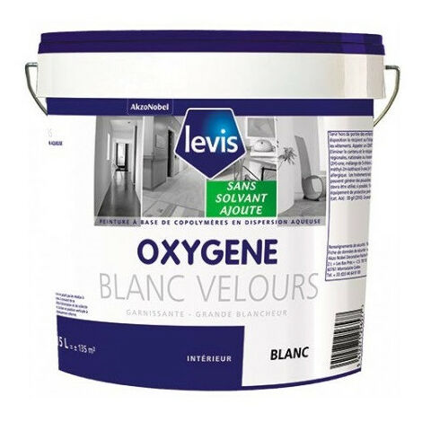 OXYGENE VELOURS BLANC 5L Peinture 0% de solvant ajouté d'aspect velours pour murs intérieurs - Levis