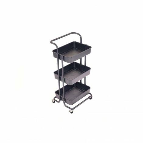 Oypla 3 Tier Black Household Kitchen Bathroom Storage Trolley Cart Shelf