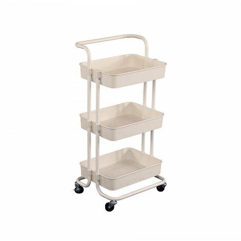 Oypla 3 Tier White Household Kitchen Bathroom Storage Trolley Cart Shelf