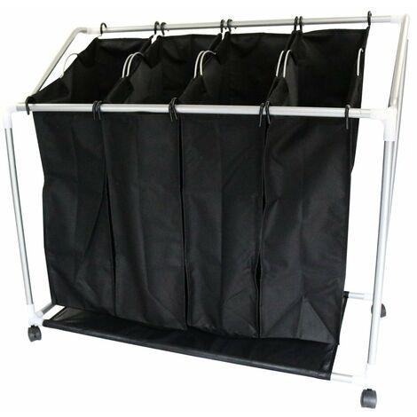 Oypla 4 Bag Laundry Clothes Washing Sorter Cart Trolley Hamper Basket
