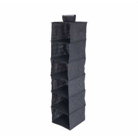 Oypla 6 Tier Black Canvas Hanging Storage Shelves Wardrobe Organiser
