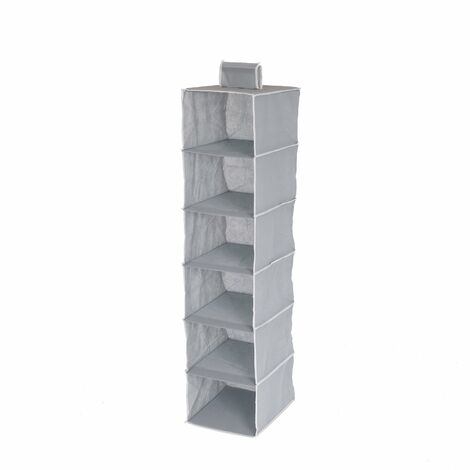 Oypla 6 Tier Grey Canvas Hanging Storage Shelves Wardrobe Organiser
