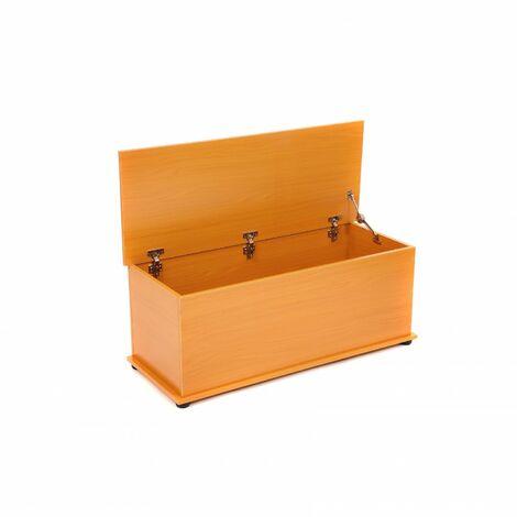 Oypla Beech Effect Wooden Storage Chest Ottoman Blanket Box Toy Chest Trunk