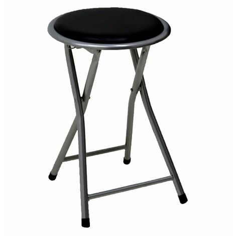 Oypla Black Padded Folding Breakfast Kitchen Bar Stool Seat