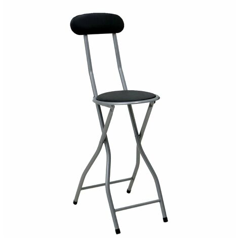Oypla Black Padded Folding High Chair Breakfast Kitchen Bar Stool Seat