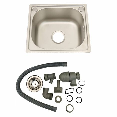 Oypla Brushed Stainless Steel Top Mount Kitchen Bowl Sink - Includes Full Plumbing Kit