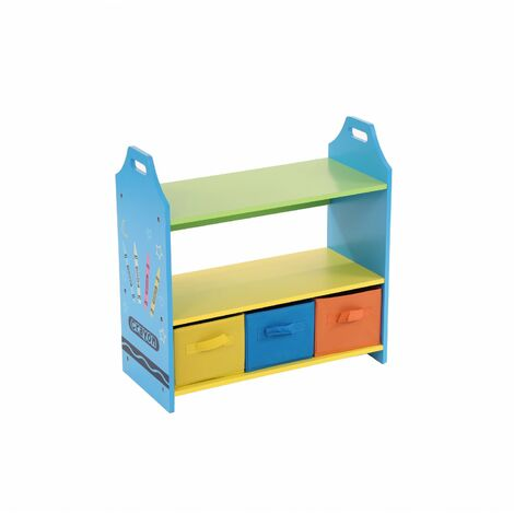 Oypla Colourful Childrens Toy Storage Crayon Unit Shelves with 3 Drawers Chest
