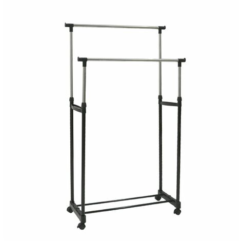 """main image of """"Oypla Double Clothes Rail Portable Hanging Garment Storage With Shoe Rack Shelf"""""""