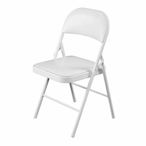 Oypla Heavy Duty White Padded Folding Metal Desk Office Chair Seat