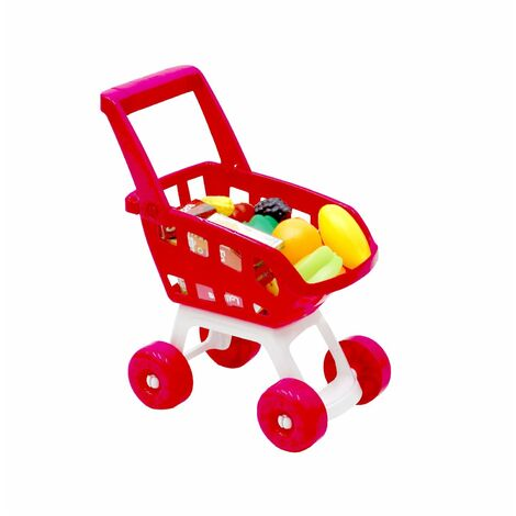 Oypla Pink Childrens Kids Role Play Supermarket Shopping Trolley Set