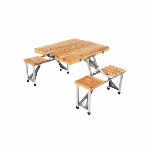 """main image of """"Oypla Portable Wooden Folding Outdoor Picnic Table and Bench Set 4 Seats"""""""