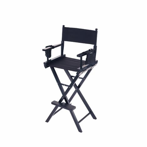 """main image of """"Oypla Professional Black Wooden Folding Director Makeup Chair with 2 Storage Pouches"""""""