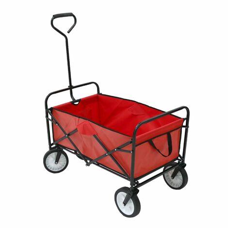 "main image of ""Oypla Red Heavy Duty Foldable Garden Trolley Folding Cart Wagon Truck Wheelbarrow"""