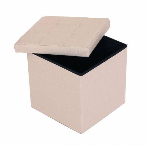 Oypla Small Beige Linen Folding Ottoman Storage Chest Box Seat Stool Bench