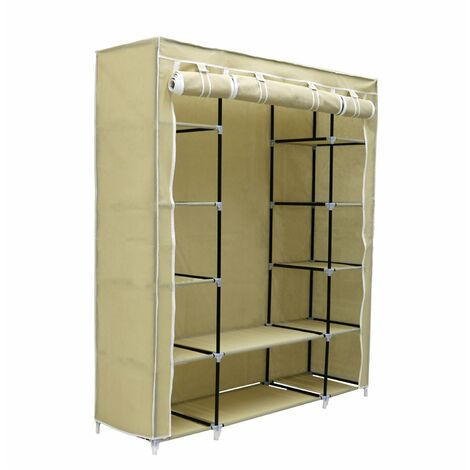 Oypla Triple Cream Canvas Wardrobe Clothes Rail Hanging Storage Closet