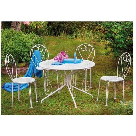 OZALIDE - Ensemble casablanca table + 4 chaises - acier - blanc